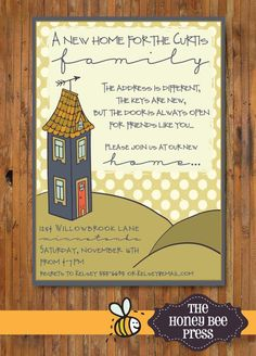 New Home Open House invitation – Housewarming Party invitation – We've Moved New Address Announcement – Invitation Ideas for 2020 Printable Invitation Templates, Templates Printable Free, Tag Templates, Printables, Invitation Ideas, House Party Invitation, Wedding Invitations, Housewarming Invitation Wording, 30th Birthday Ideas For Women