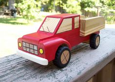 Red Wood Toy Truck Handmade Non toxic finish Your by Ysssk71, $17.99