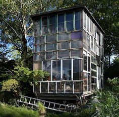 House made of recycled window frames