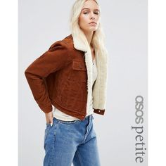 ASOS PETITE ASOS Cord Cropped Jacket with Borg in Rust ($79) ❤ liked on Polyvore featuring outerwear, jackets, brown, petite, asos jackets, cord jacket, cordoroy jacket, brown corduroy jacket and petite jackets