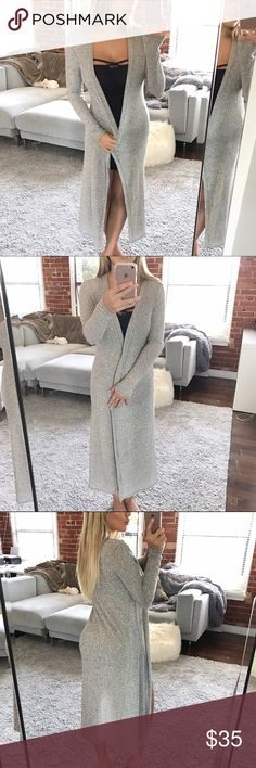 """Maxi cardigan Long sleeve beige/pale grey kimono cardigan solid knit Approx 49"""" based on a small material is 96% polyester 4% spandex Sweaters Cardigans"""