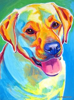 Print of Colorful Labrador Dog Painting by Alicia VanNoy Call.    Original was acrylic on canvas. This bright, happy artwork will make a wonderful