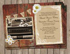 Shabby Chic, Wedding,Invitation, Red, Rustic,Wood, Daisy, Digital file, Printable