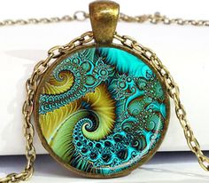 Fibonacci Spiral Pendant Aqua (Sacred Geometry)