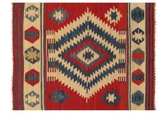 6'x9' Pakistani Kelim Flatweave Rug, Red