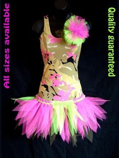 GIRLS 3 PCE DANCE TUTU STAGE PARTY COSTUME HAWAIIAN TROPICAL HULA JUNGLE OUTFIT
