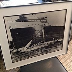 Framed Matted #BlackAndWhite #Photo S.S. #EdmundFitzgerald . A piece of #GreatLakes history. Info @ link below.