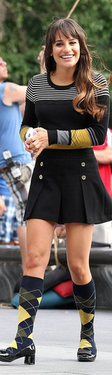 Who made Lea Michele's pleated skirt and black fringe patent shoes that she wore in New York on August 11, 2012? Skirt – Juicy Couture  Shoes – Prada