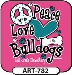 Peace, Love, (your mascot)! Think pink! Love bling? We have sparkle ink! Head over to spiritwear.com to start your order for custom girly t-shirts! Hot diggety dog!