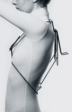 Sculptural 3D wire frame body adornment with a bold minimalist design; wearable art // David Watkins