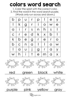 """Word Search - Colors: Color the splat with the correct color, then find the word in the word search puzzle. This puzzle contains the US spelling for """"color"""" and """"gray"""". #ESL #wordsearch #vocabulary #colors"""