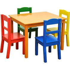 Melissa & Doug Wooden Table and 2 Chairs Set | Train set