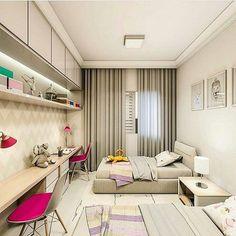 quarto para irms com bancada de estudo em cores neutras by jlima projetos