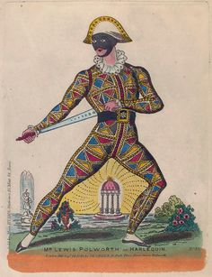 Mr. Lewis Polworth as Harlequin. (1844)  love the strategically placed dome between the legs!