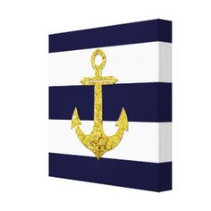 Rayas náuticas del ancla del oro impresiones en lienzo estiradas