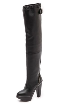 McQ - Alexander McQueen Max Curved Zip Knee High Boots