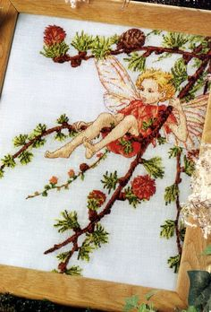 Cross stitch - fairies: Larch fairy - Cicely Mary Barker (free pattern with chart)