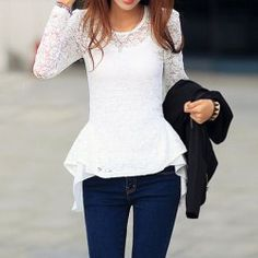 Peplum white lace top, not usually a fan of the peplum top but the fit and style of this one is adorable, Feelin it!