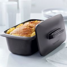 We're baking with Tupperware today! The UltraPro Loaf Pan is safe for the oven, microwave, fridge and freezer. You can save time cooking by starting in the microwave and finishing to a golden brown in the oven!