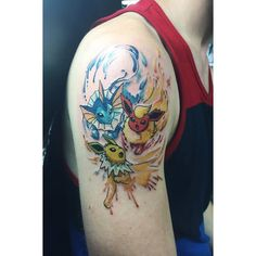 Chronic Ink Tattoo - Toronto Tattoo  Vaporeon, Flareon and Jolteon tattoo in a watercolour style. Watercolour Pokemon tattoo done by Livia.