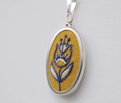 Embroidered Necklace Hand Embroidered Flower by SeptemberHouse