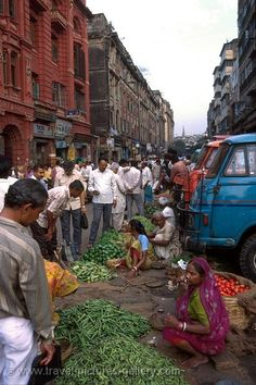 People selling vegerables near Howrah Bridge, Calcutta, INDIA.