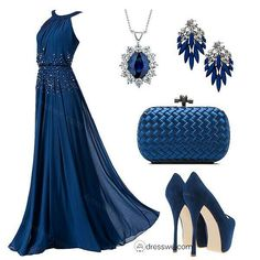 Blue dress with accessories