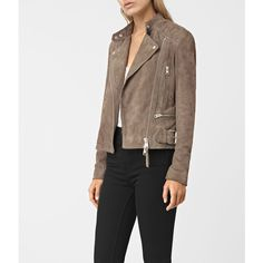 AllSaints Kerr Suede Biker Jacket ($595) ❤ liked on Polyvore featuring outerwear, jackets, mushroom, suede motorcycle jacket, moto jacket, motorcycle jackets, suede jacket and rider jacket