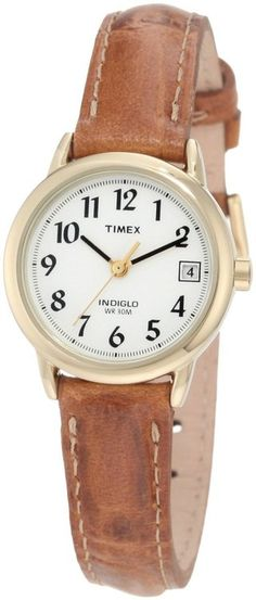 5cd576ec839 Timex Womens Easy Reader Brown Strap Watch Brown Leather Strap Watch
