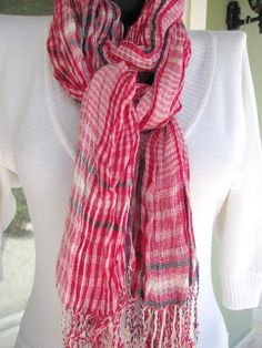 Red Scarf Red Crinkle Long Scarf Man Fashion by BellaTurka on Etsy, $18.00