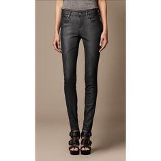 Burberry Pilton Coated Cotton Jeans ($275) via Polyvore