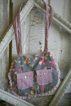 Pink and Grey Handmade Bag with Corduroy by VintageGardensKS