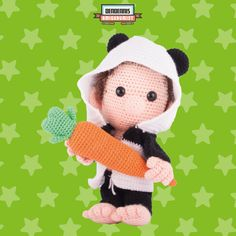 "Dendennis loves carrots  A Dendennis design from his dutch amigurumi book ""Kawaii Haken"""