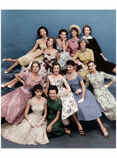Eileen (front row, in green) with a fleet of Ford models, 1955  Bottom row left to right:Jean Patchett, Patsy Shally, Eileen Ford, Lillian Marcuson, Nan Rees, and Leonie Vernet.Top row left to right:Dorian Leigh, Suzy Parker, Georgia Hamilton, Dolores Hawkins, Kathy Dennis and Mary Jane Russell.