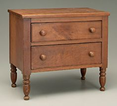 Kentucky Federal miniature chest,  cherry with poplar secondary, two dovetailed drawers with figured cherry fronts, turned legs, attributed to Kentucky, early 19th century, 14-1/2 x 16 x 9-1/4 in.