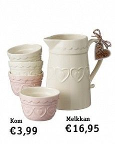 White hearts pitcher and bowls