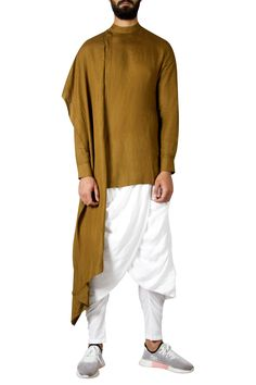 Shop Antar Agni- Men One Side Draped kurta , Exclusive Indian Designer Latest Collections Available at Aza Fashions Preppy Mens Fashion, Indian Men Fashion, Mens Fashion Suits, Men's Fashion, Mens Indian Wear, Mens Ethnic Wear, Mens Linen Outfits, Wedding Kurta For Men, Indian Groom Dress