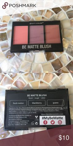 🆕Be Matte Blush Be Matte Blush trio- Fresh Melon, Blackberry & Guava- rich earthy tones❣ Still in packaging- never opened.                 ✅I ship same or next day ✅Bundle for discount City Color Makeup Blush