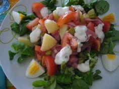 Salade au bacon et sauce au fromage blanc (4 points)
