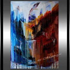 LARGE PAINTING Original paintings red Blue by largeartwork on Etsy