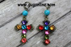 Save 10% by using promo code GUGREPBRITT at checkout! www.gugonline.comMulti Color Crystals on Bronze Cross Earrings
