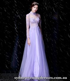 High-neck Long Sleeve Flower Applique Evening Dress with See-through Top & Back Cocktail Dresses Australia, Evening Dresses Australia, Bridesmaid Dresses, Prom Dresses, White Chiffon, Purple Fashion, Flower Applique, Quinceanera Dresses, Formal Evening Dresses