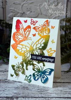 I Butterfly Cards, Butterfly Flowers, Butterflies, Horse Cards, Bee Cards, Global Design, Fun Challenges, Color Card, Folded Cards