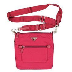 2578315b46dd Prada 1N1727 Tessuto Nylon and Leather Bow Crossbody Bag Fuxia Pink