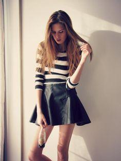 Shop this look on Kaleidoscope (shirt, skirt)  http://kalei.do/WTF7aNLwTzsWzvCc