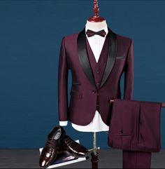 Buy Luxury Three-piece New Groomsmen Men Wedding Suits Shawl Lapel Groom Tuxedos(jacket+pants+vest) at Wish - Shopping Made Fun Tuxedo Jacket, Suit Jacket, Vest, Suit Men, Mens Suits, Wedding Men, Wedding Suits, Mens Hottest Fashion, Burgundy Suit