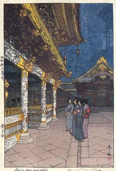 Gate in Gold and White (posthumously released) by Hiroshi Yoshida, 1941