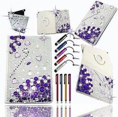 "Bling Purple Kindle Fire HD 7""- 1st GEN Crystal Rhinestone Leather Rotating Case"