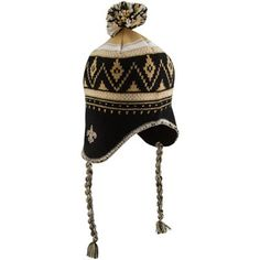 I want this hat!!   Reebok New Orleans Saints Black Braided Ziggy Pom Knit Beanie.