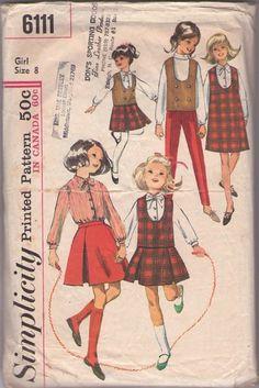 MOMSPatterns Vintage Sewing Patterns - Simplicity 6111 Vintage 60's Sewing Pattern SWELL Girls School Uniform Separates, U Neck Weskit Vest, Jumper Dress, Skirt & Blouse